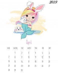 Free Printable April 2019 Calendar Cute