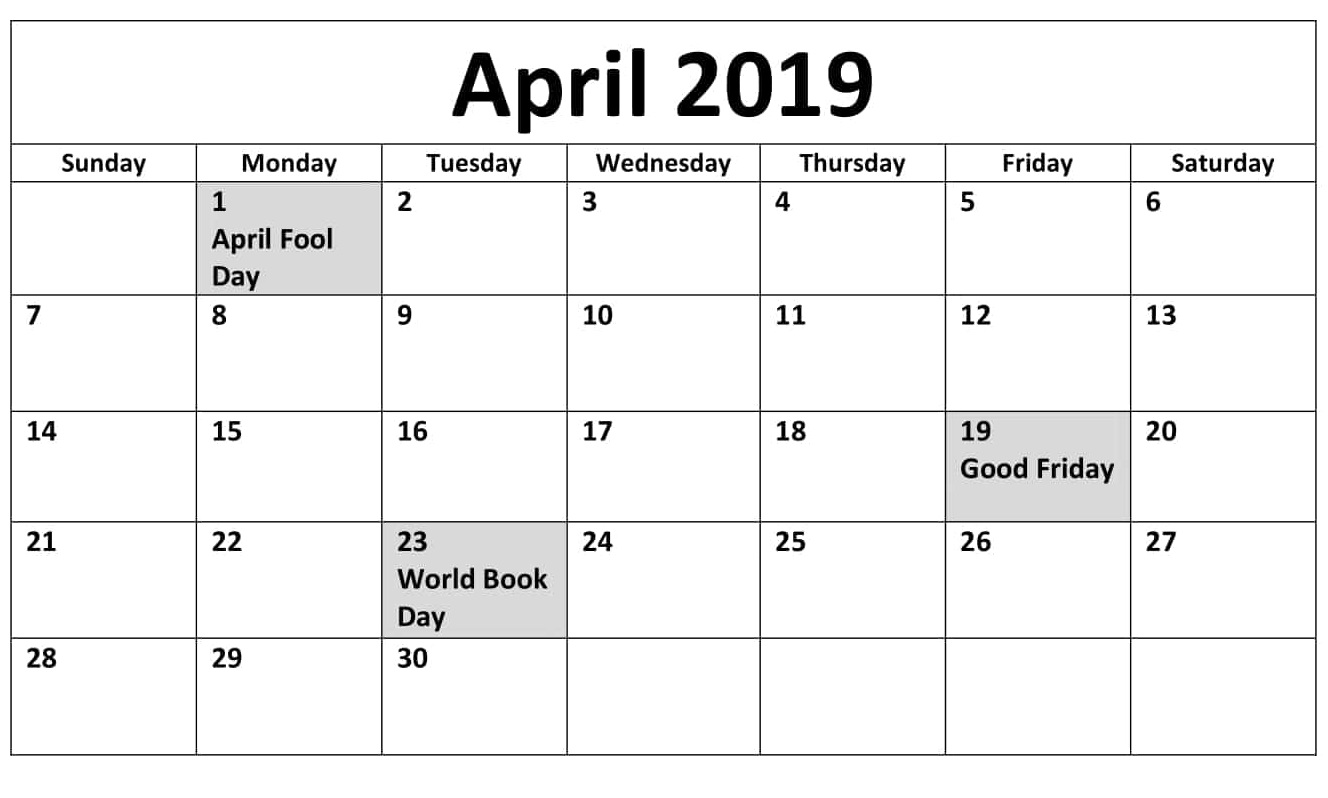 Germany April 2019 Calendar With Holidays