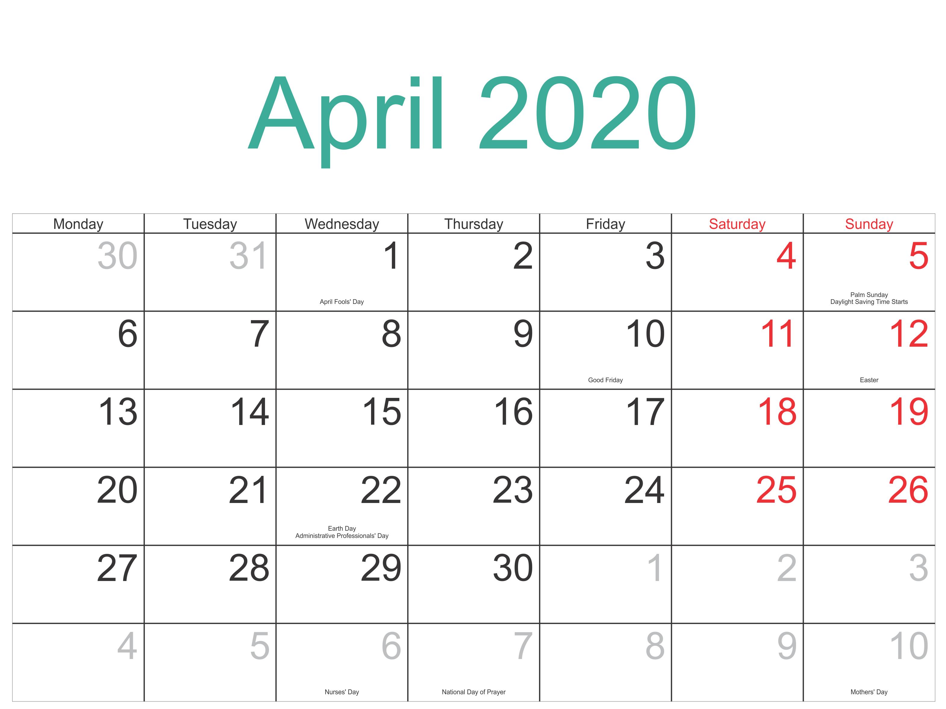 Holidays Calendar April 2020