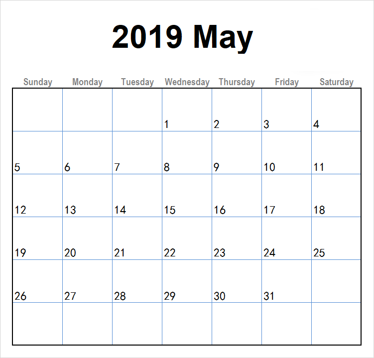 May 2019 Calendar Template Pdf