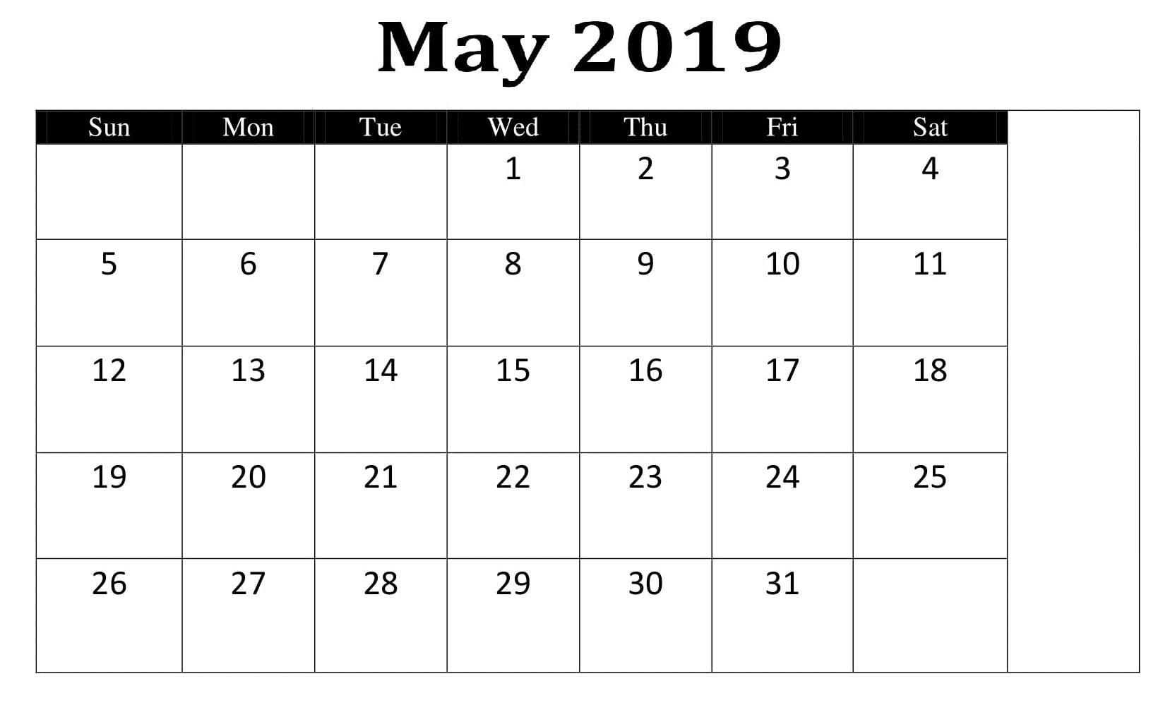 May 2019 Calendar Template Planner