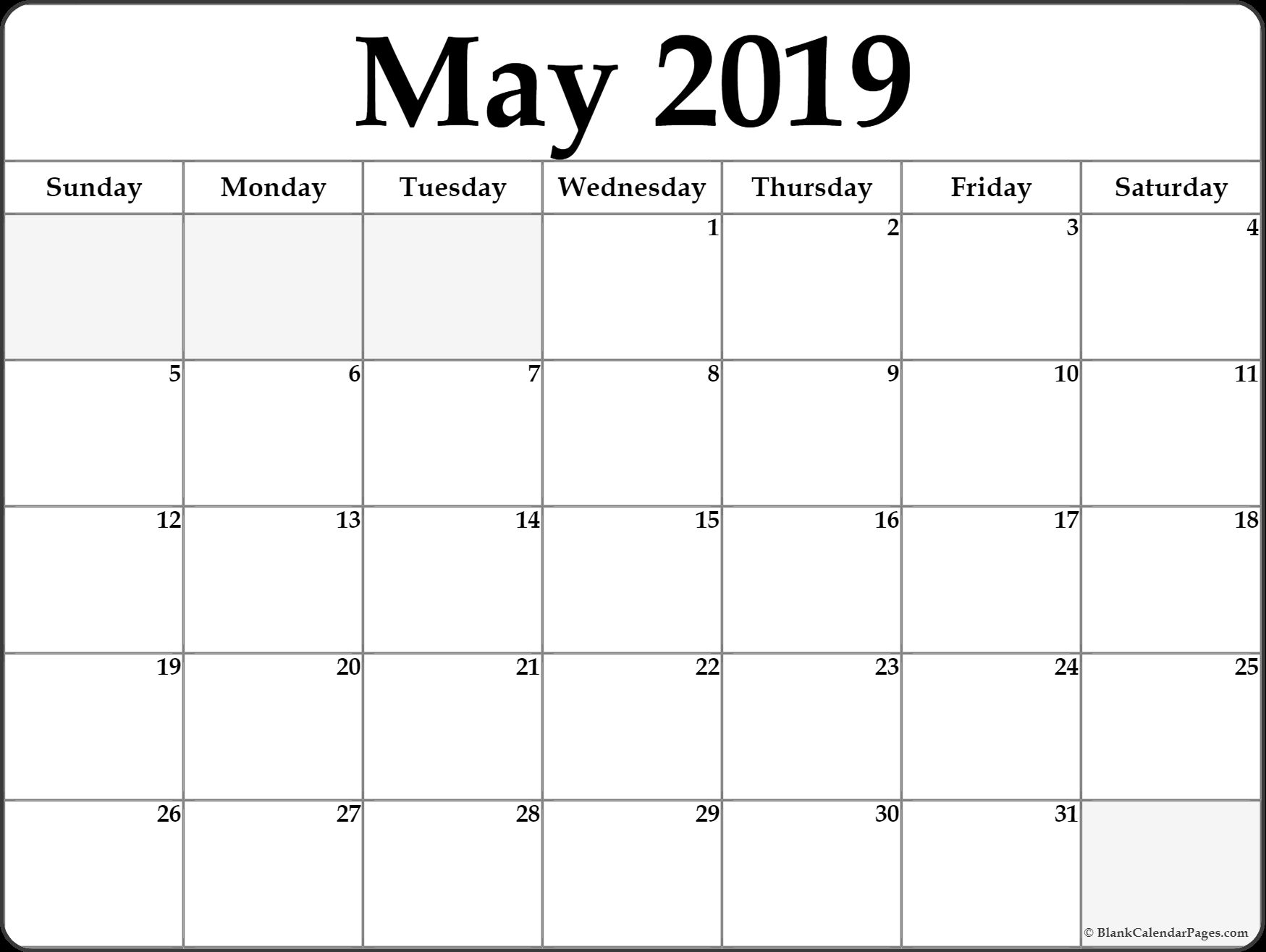 May 2019 Calendar Template Word
