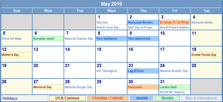 May 2019 Calendar With Holidays Printable