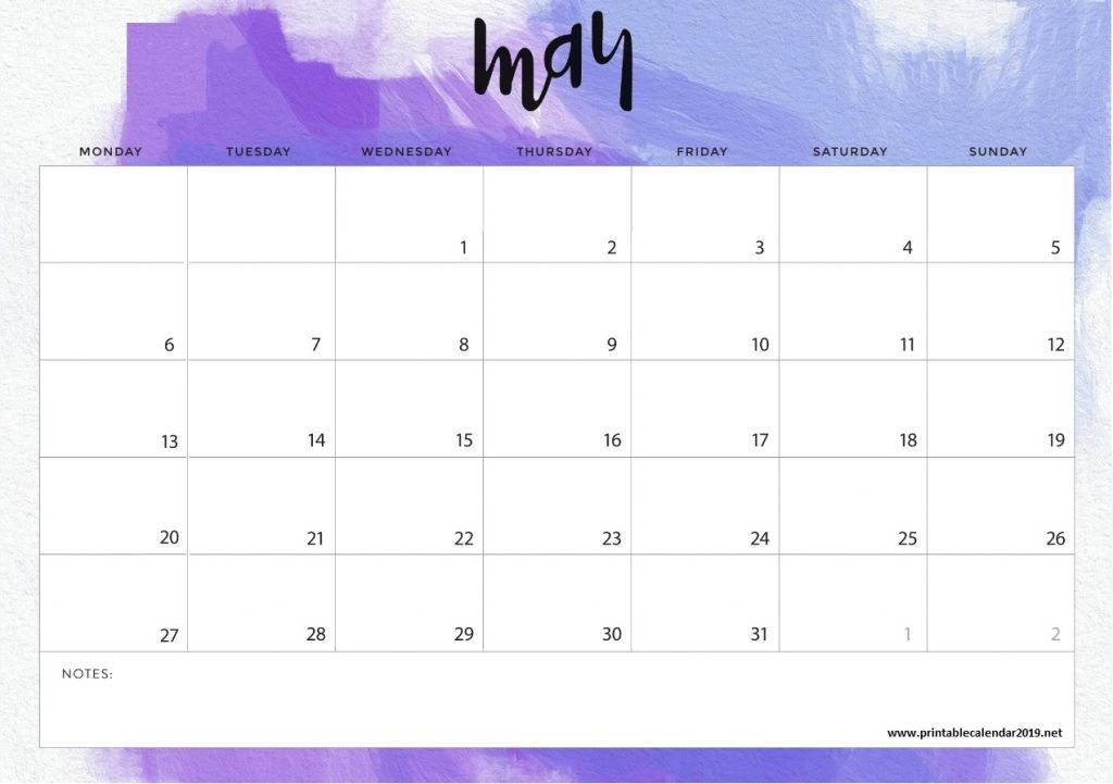 May 2019 Desk Calendar Template