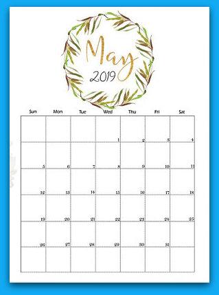May 2019 Floral Printable Calendar