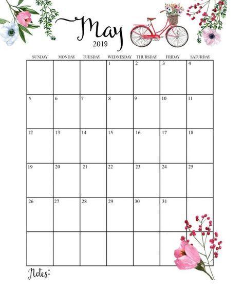 May 2019 Printable Calendar Floral