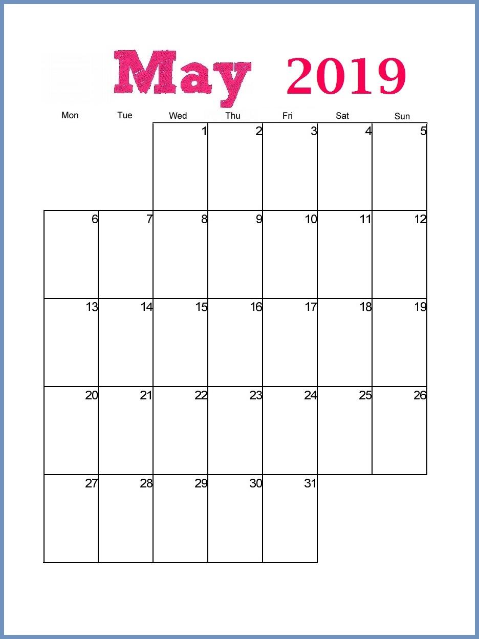 May 2019 Printable Calendar Portrait