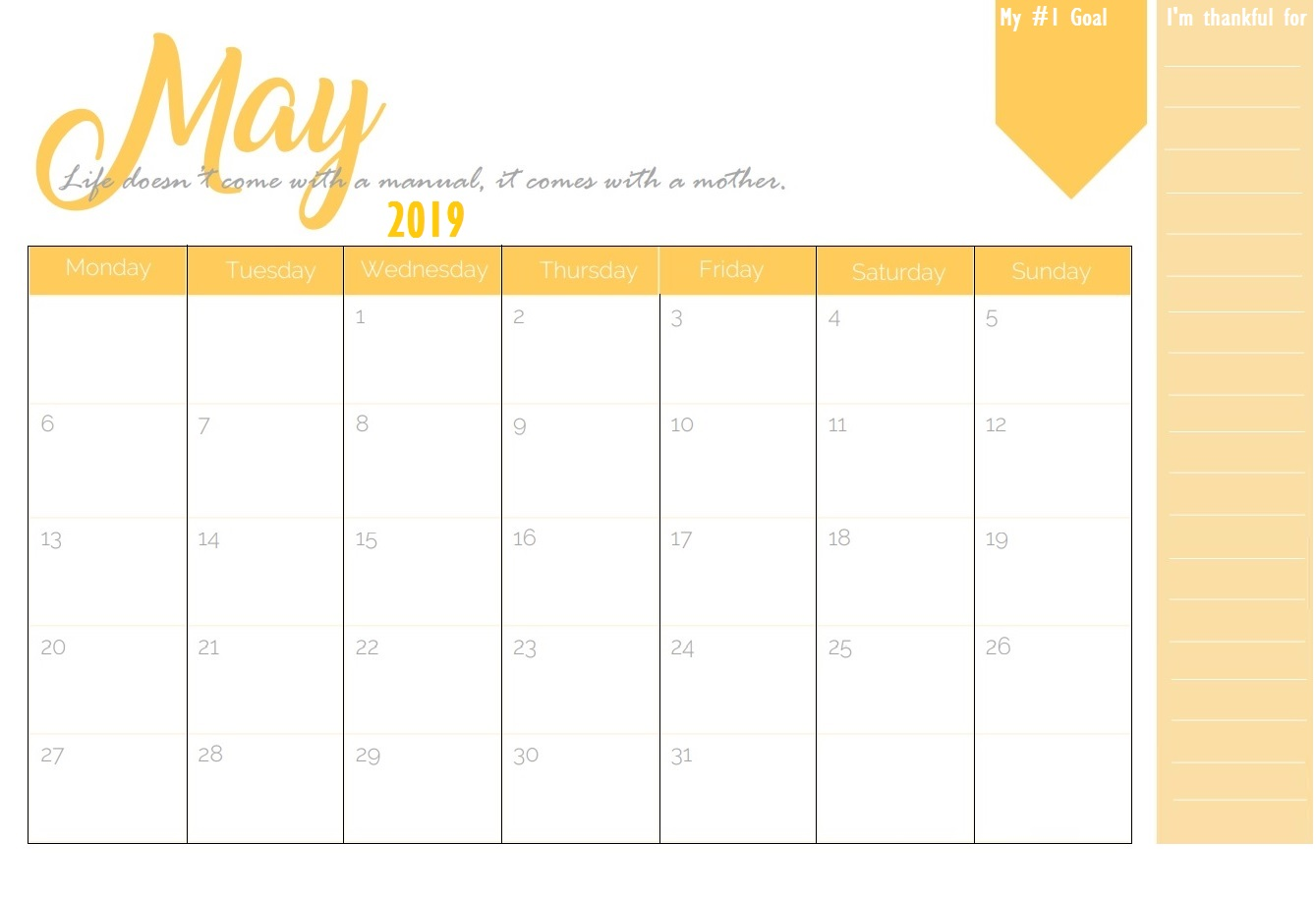 May 2019 Printable Calendar Template Free Printable