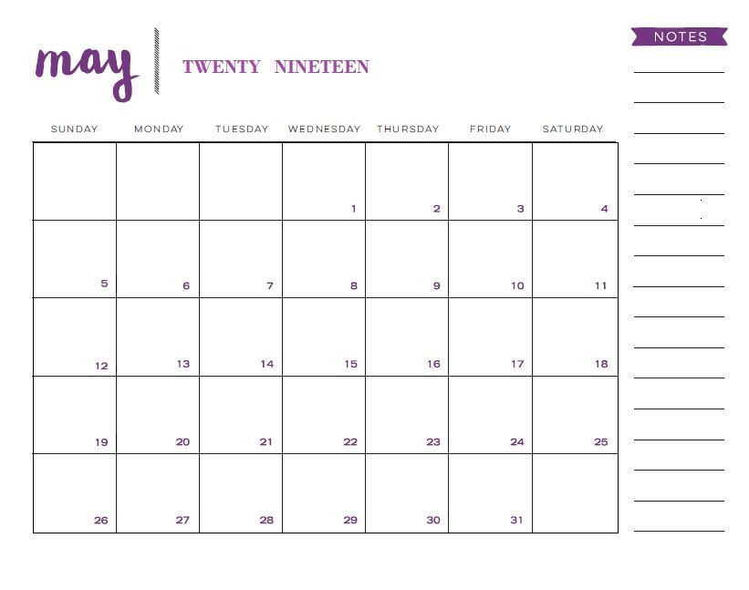 May 2019 Printable Calendar With Notes