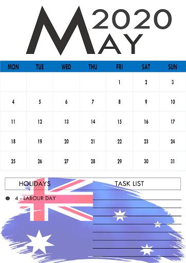 May 2020 Australia Holidays Calendar