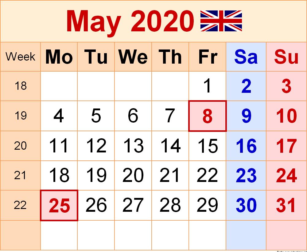 May 2020 Calendar UK