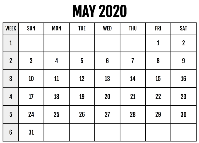 May 2020 Calendar Template Excel