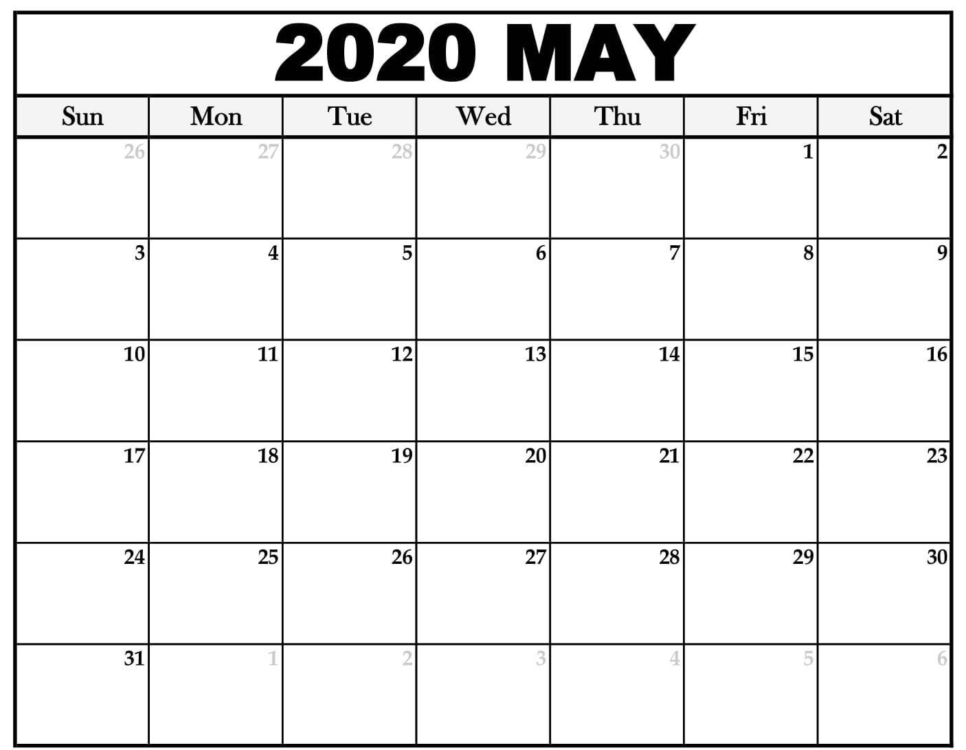 May 2020 Calendar Template Word