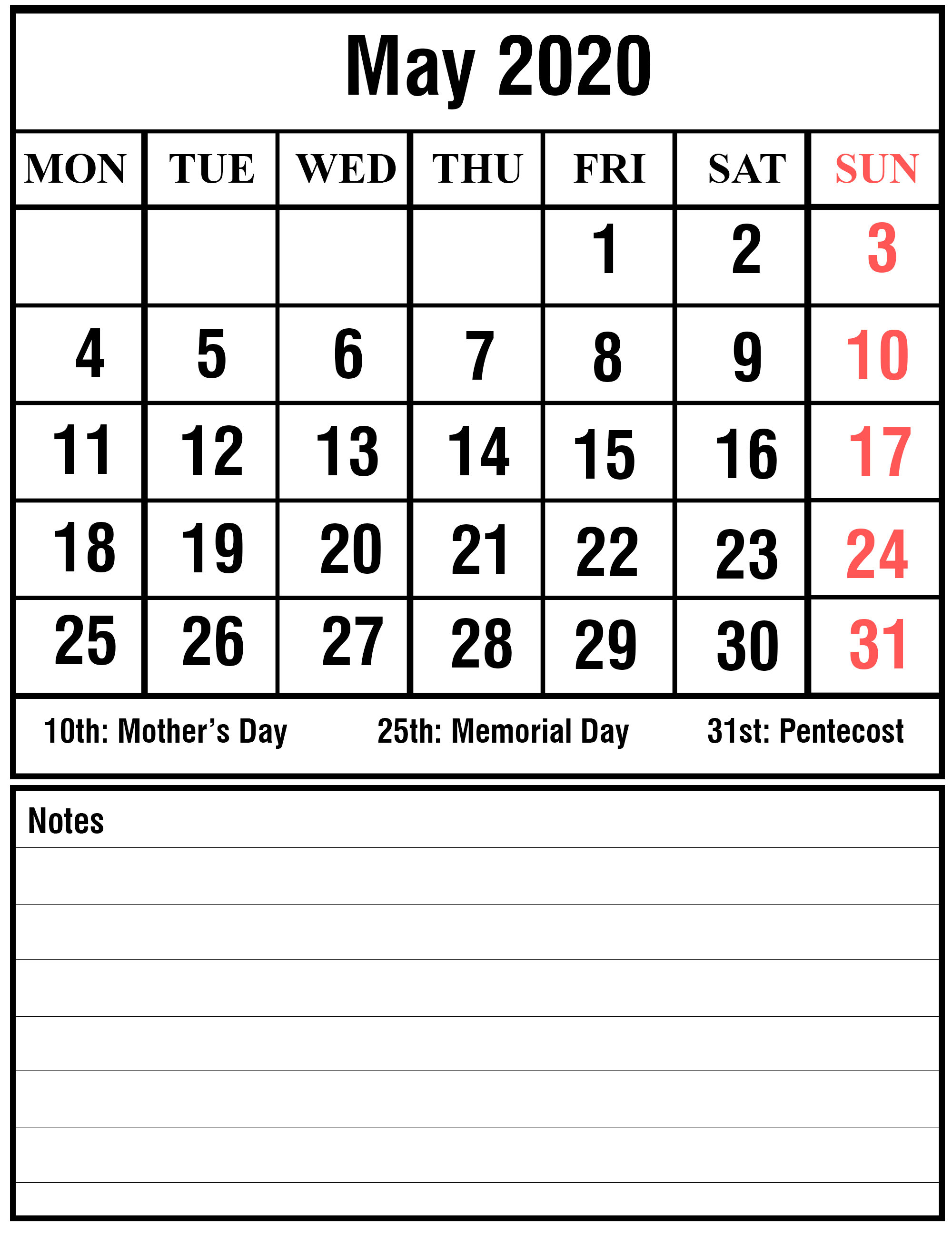 May 2020 Calendar Template With Notes