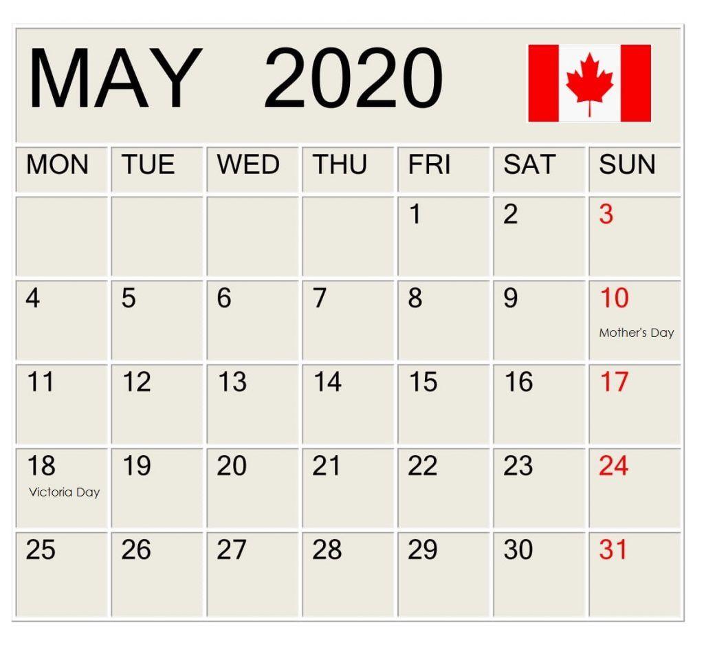 May 2020 Canada Holidays Calendar