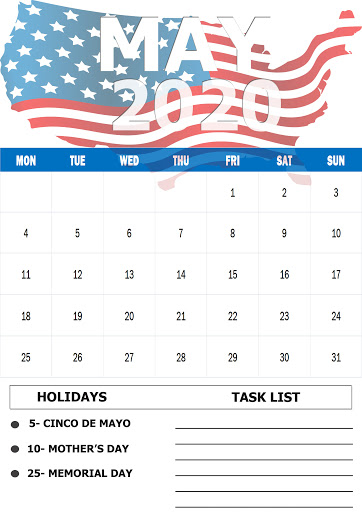 May 2020 US Holidays Calendar
