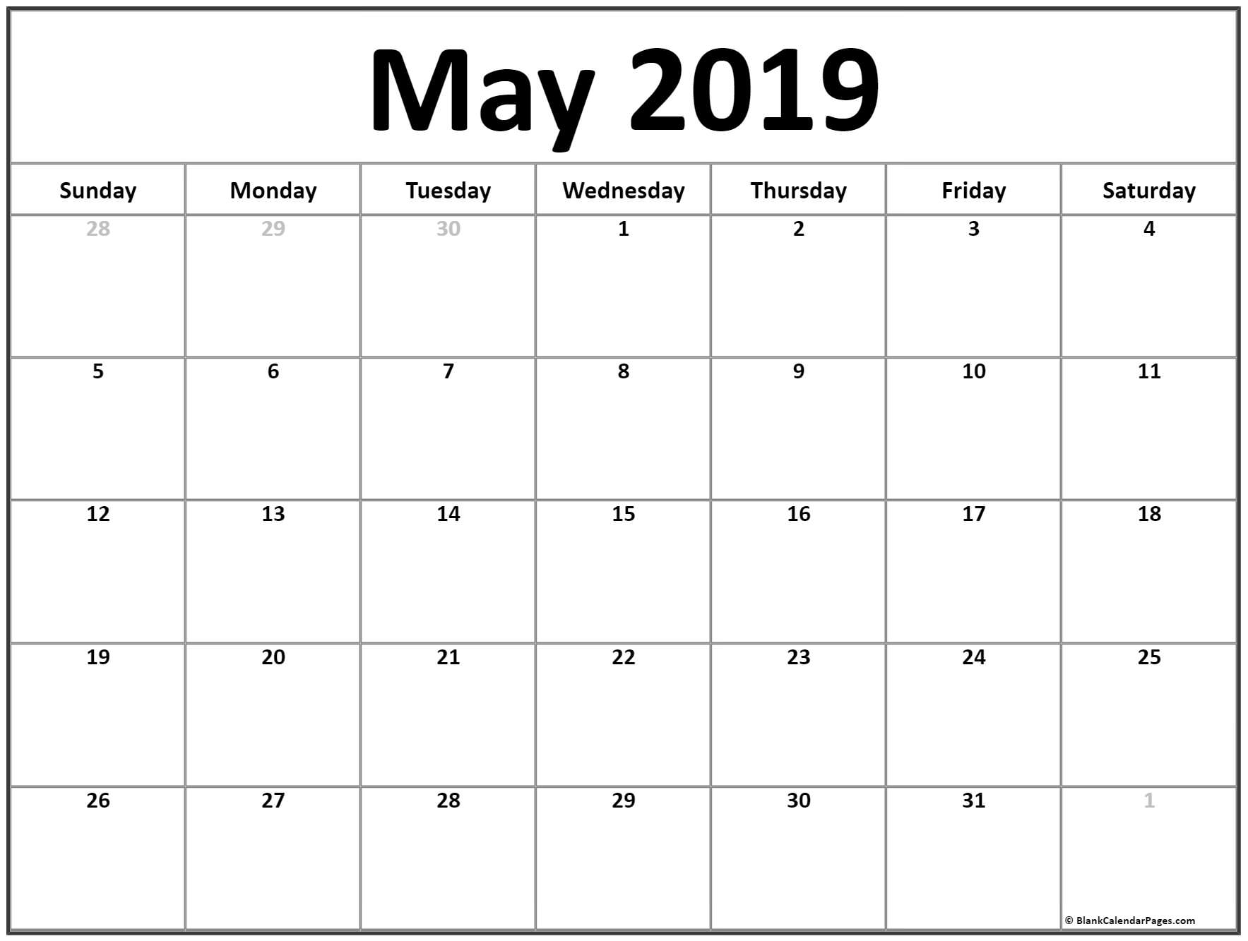 Month of May 2019 Printable Calendar