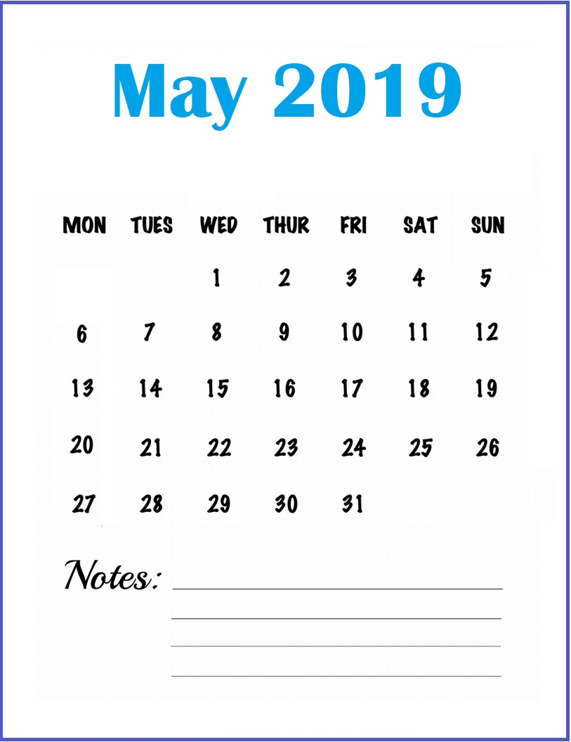 Monthly Calendar Template May 2019
