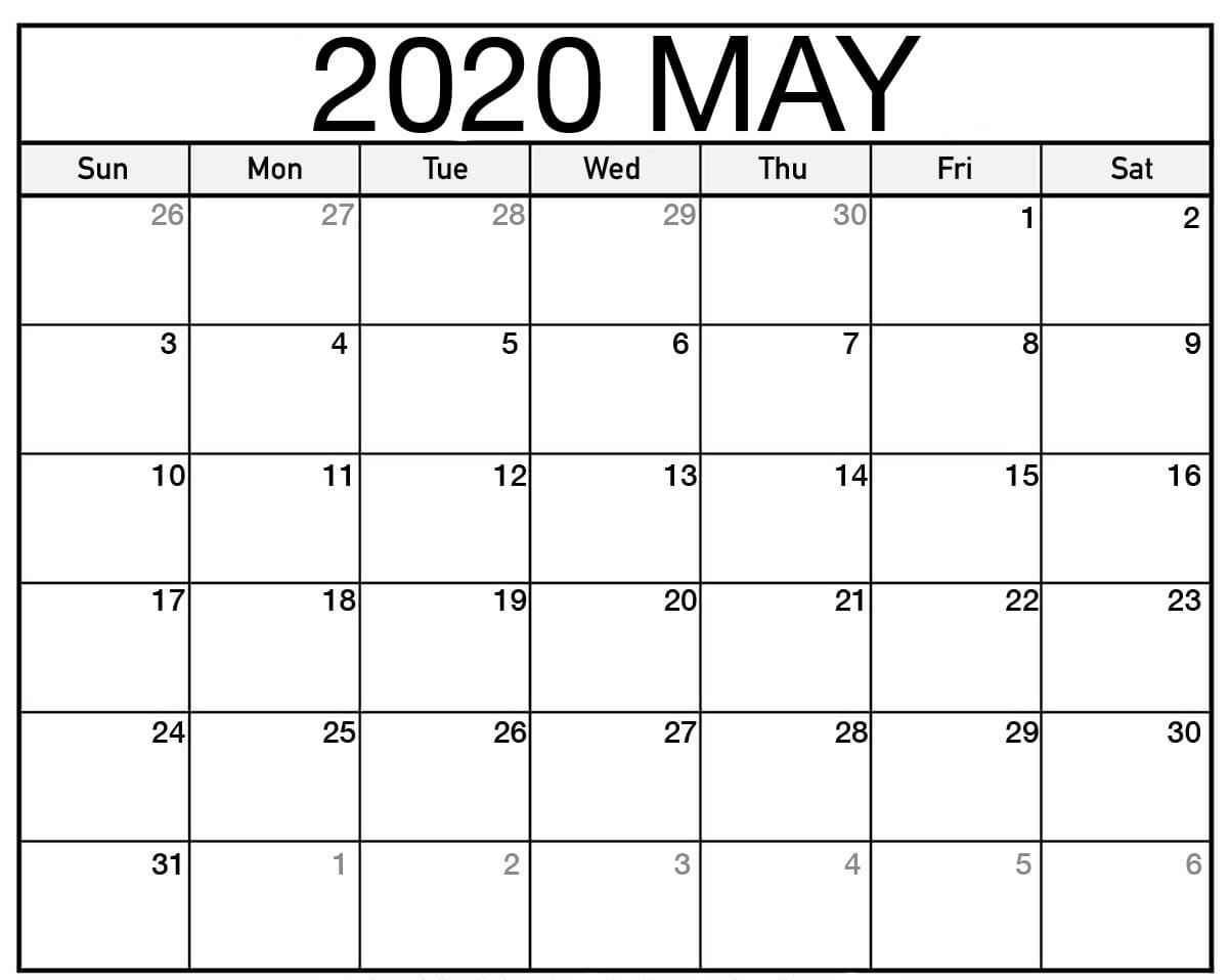 Print May 2020 Calendar Template