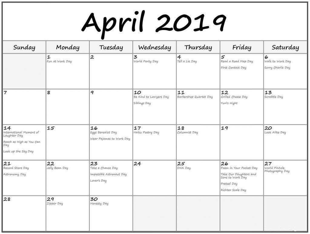 Printable April 2019 Calendar With Holidays