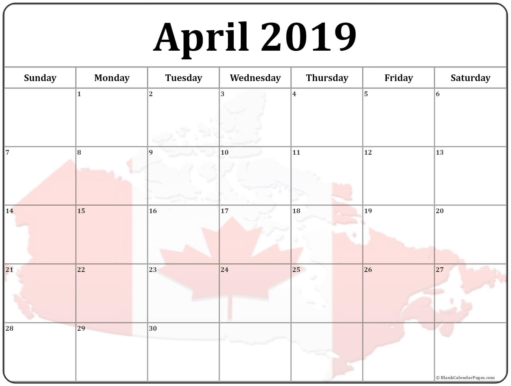 Printable April 2019 Canada Calendar