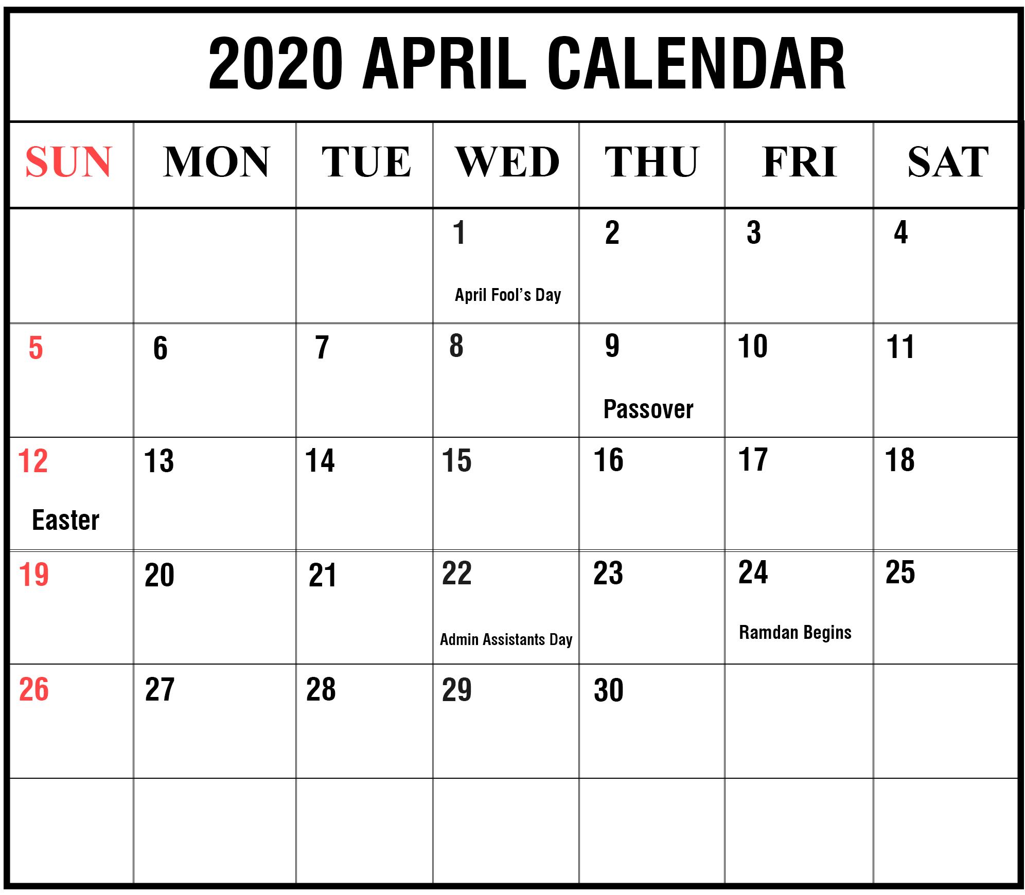 Printable April 2020 Holidays Calendar