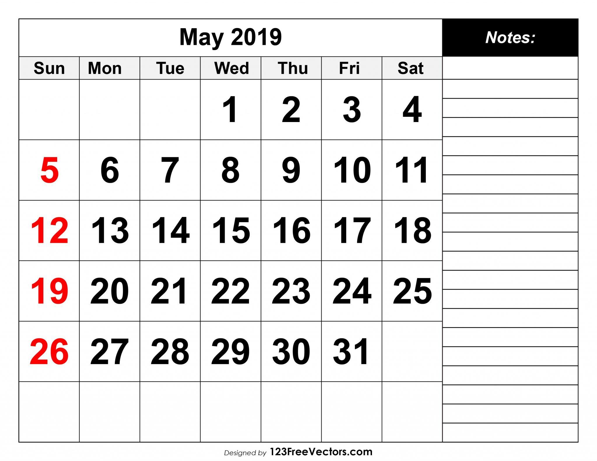 Printable Calendar May 2019