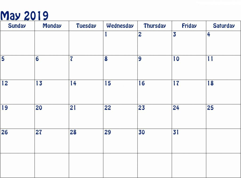 Printable Calendar Template May 2019