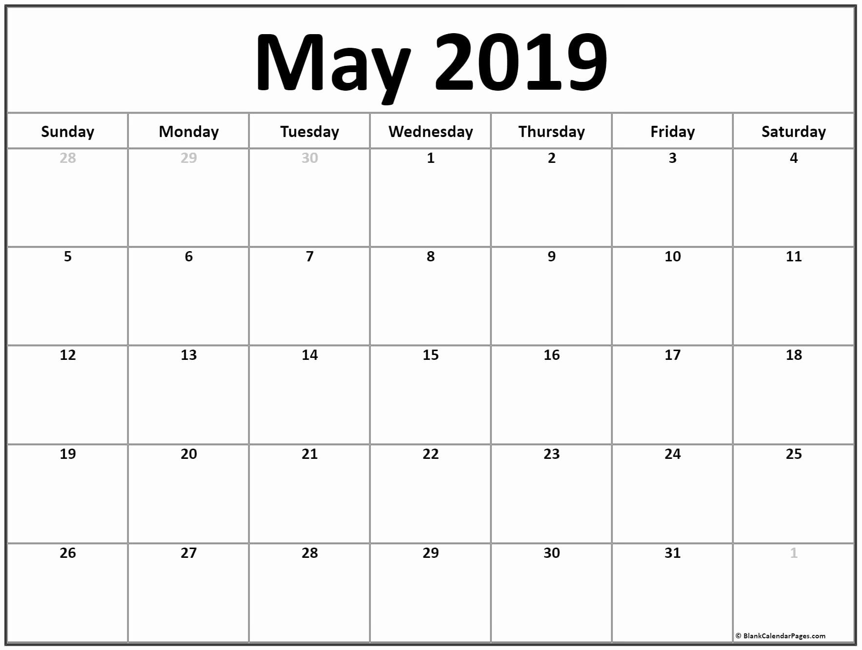 Printable May 2019 Calendar Template