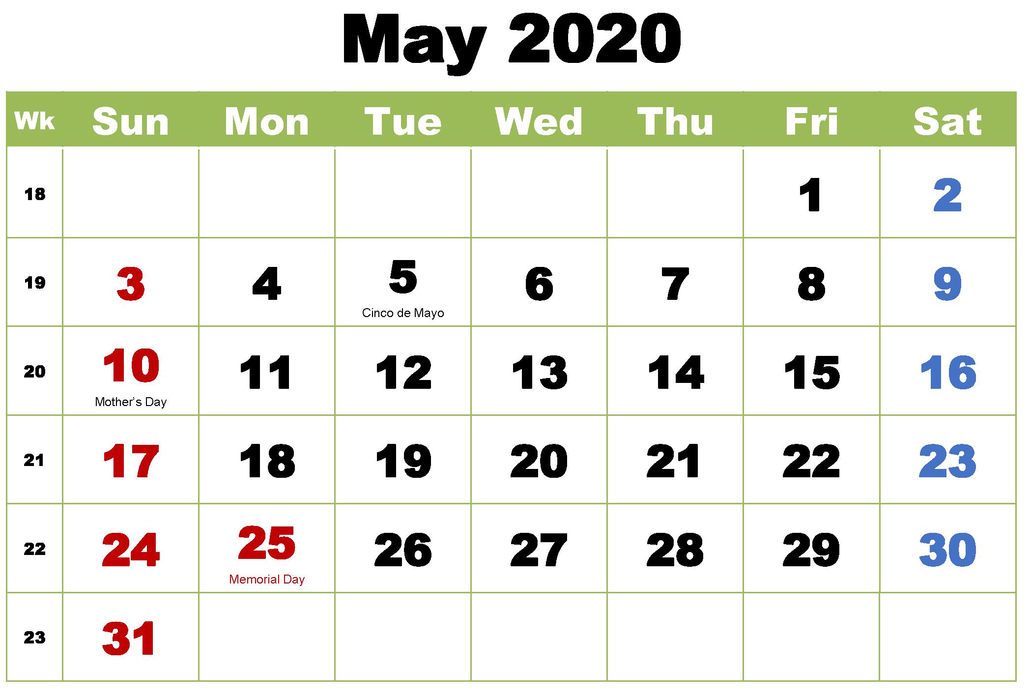 Printable May 2020 Calendar Holidays