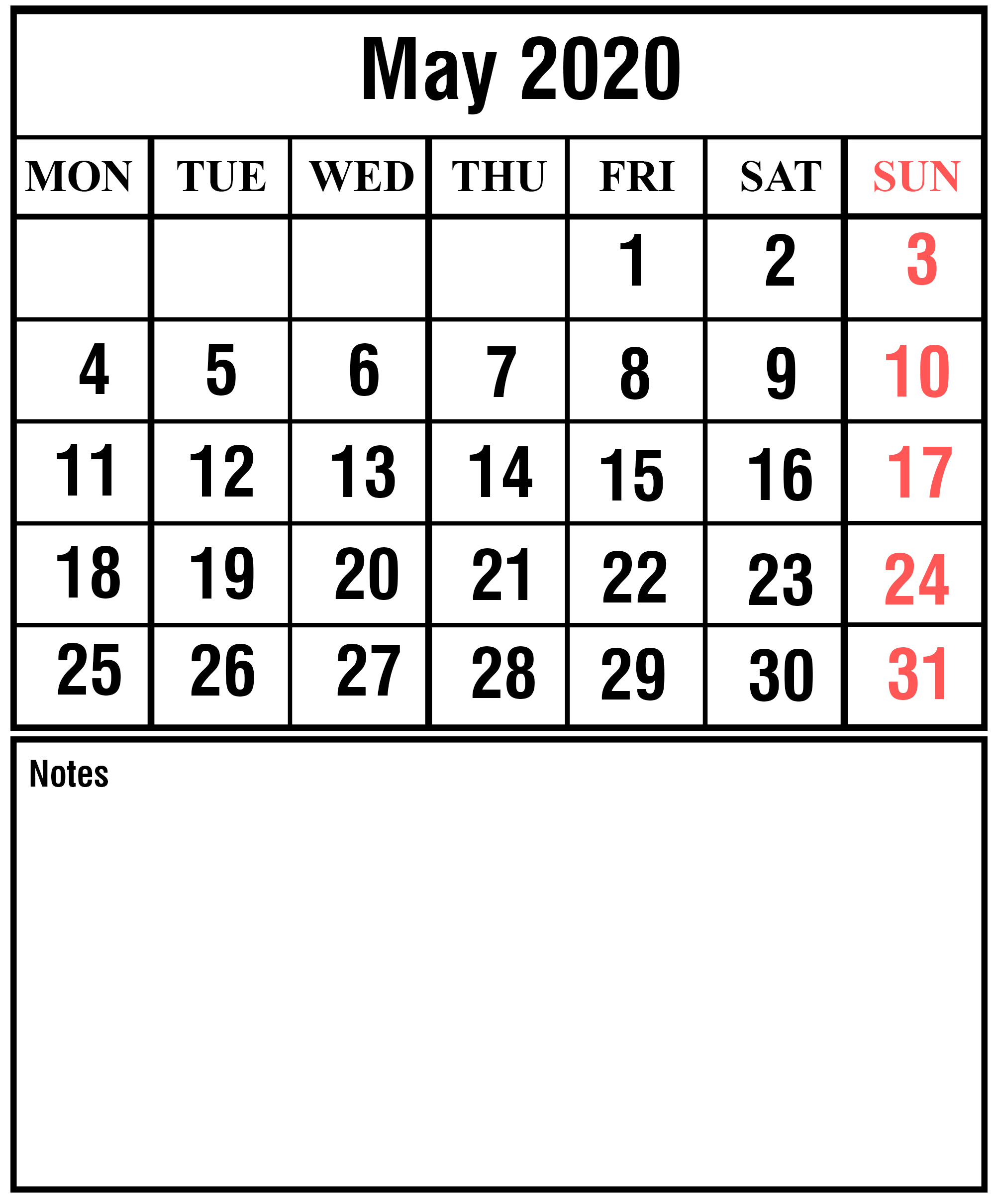 Printable May 2020 Calendar with Notes