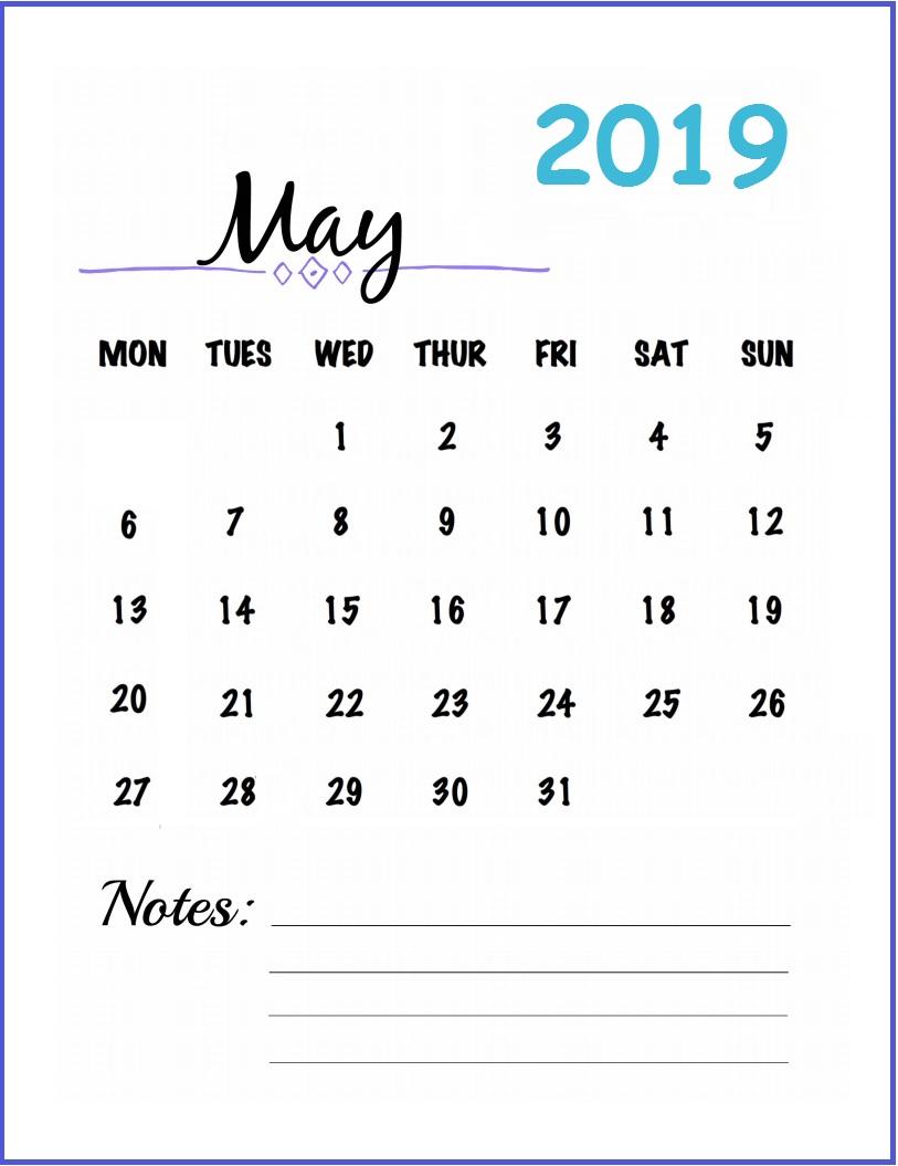 Printable Wall Calendar for May 2019