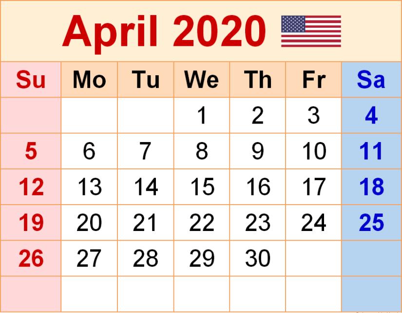 USA Holidays Calendar April 2020
