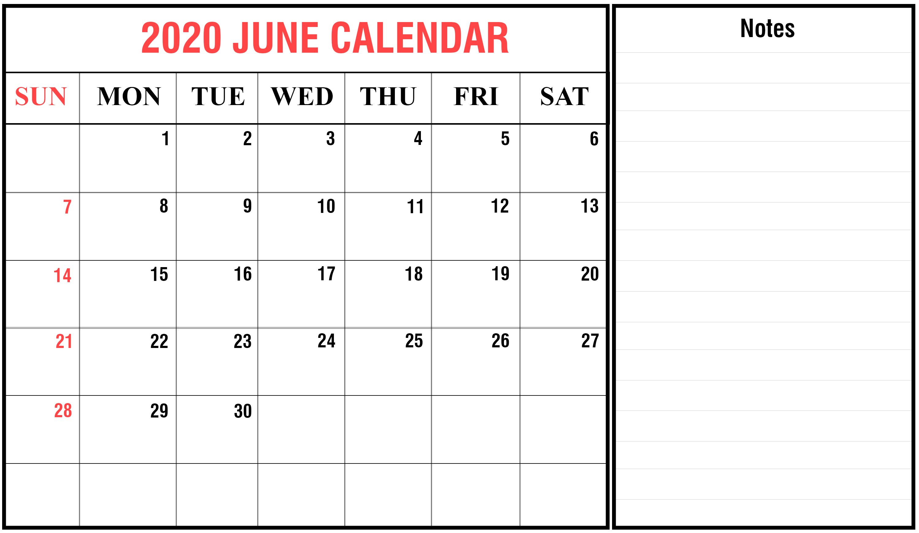 2020 June Calendar Template with Notes