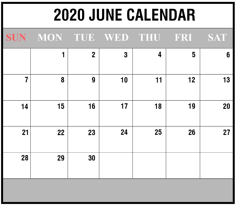 2020 June Printable Calendar