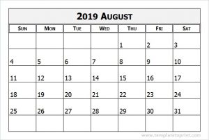 August 2019 Calendar Landscape