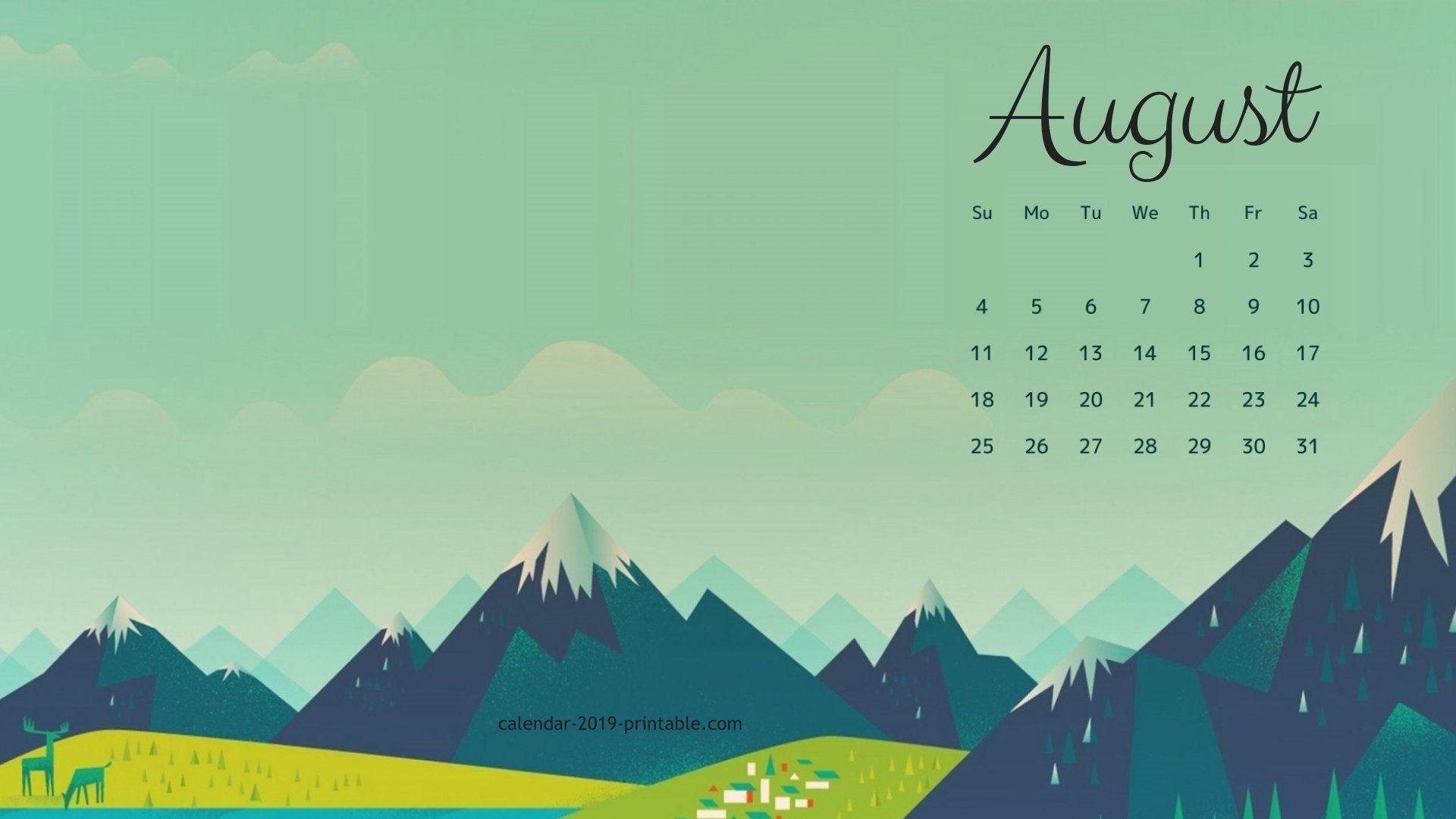 August 2019 Calendar Wallpaper