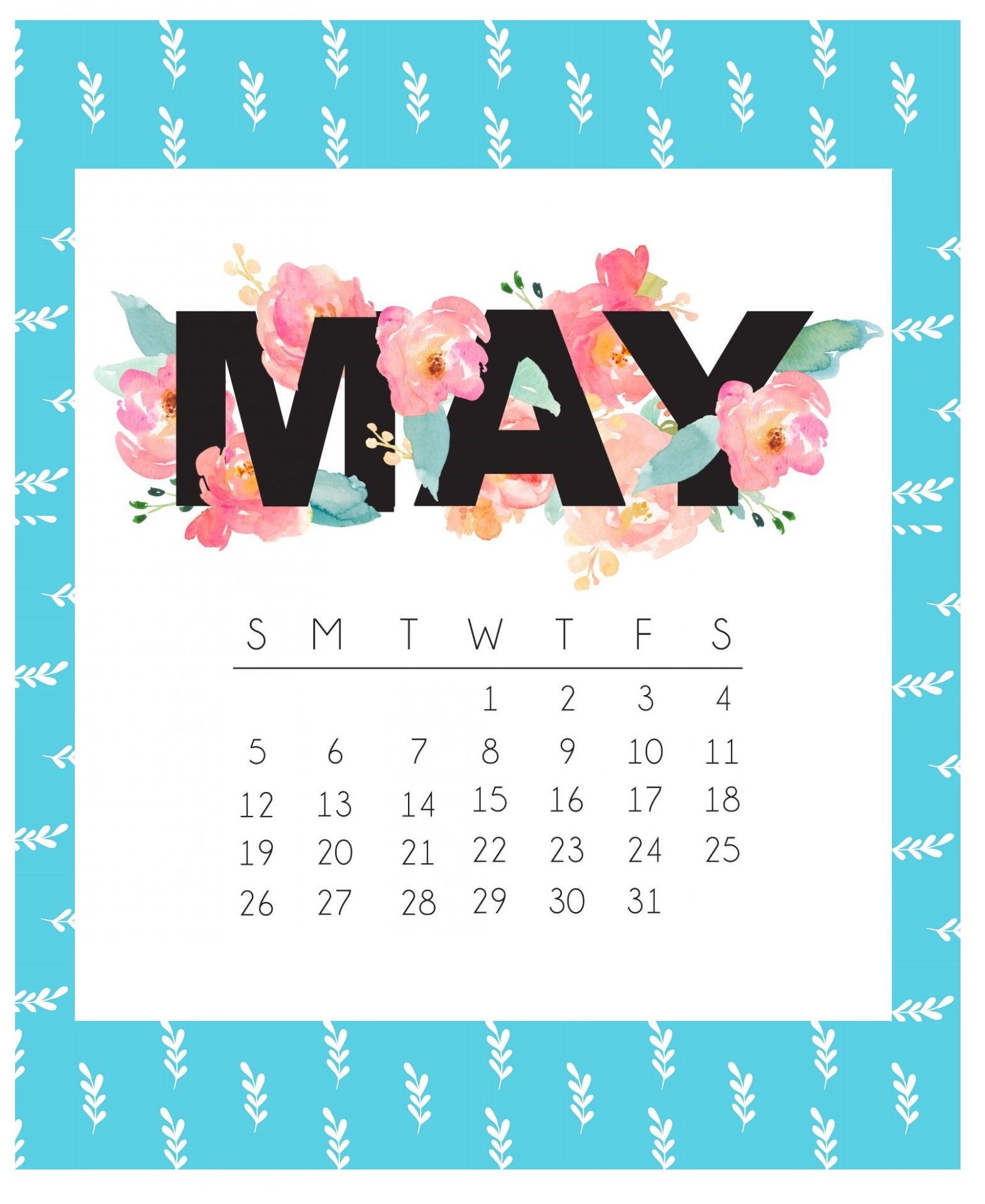 Beautiful May 2019 Calendar Template