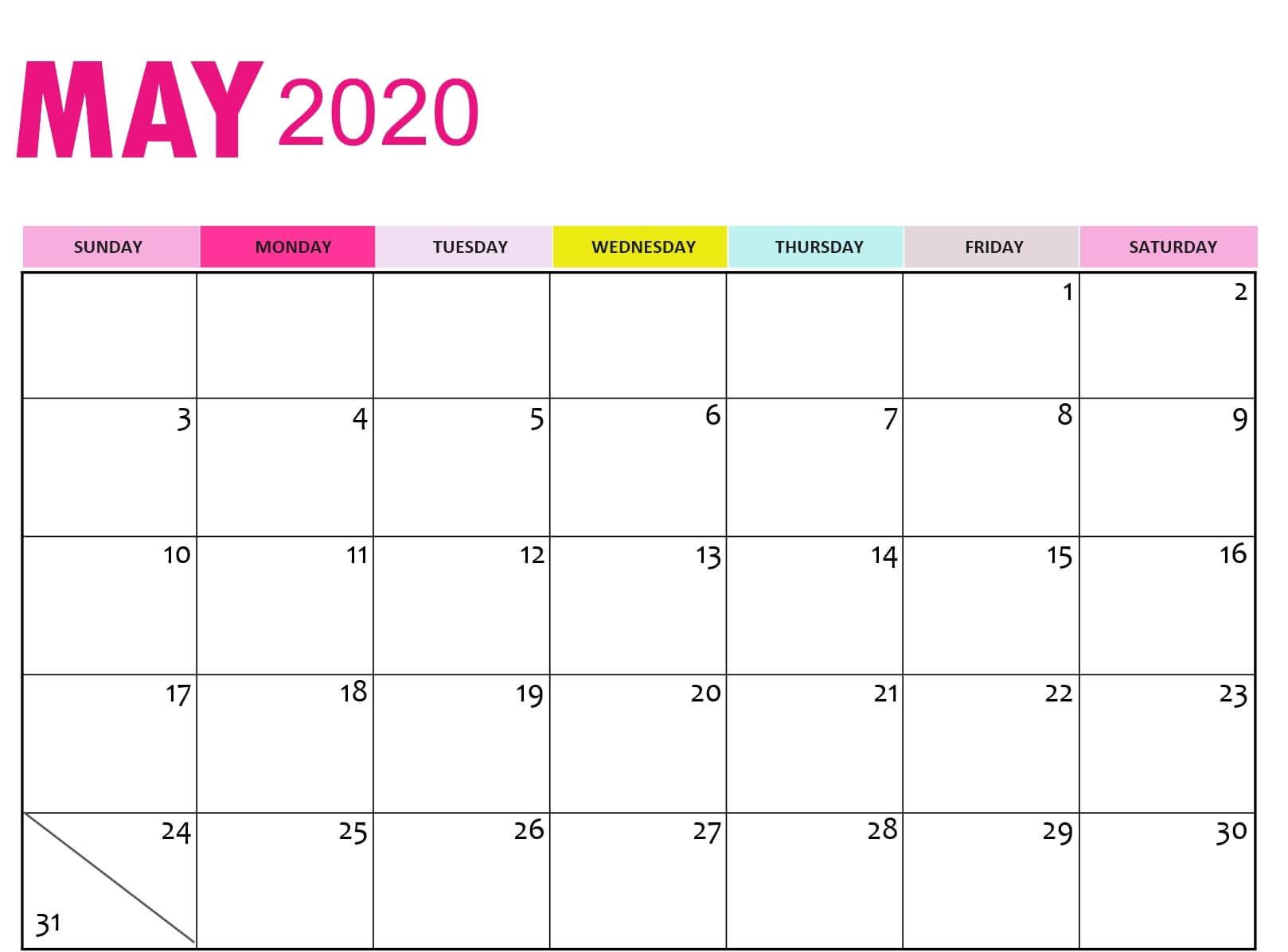 Blank Calendar For May 2020