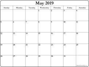 Blank Calendar May 2019
