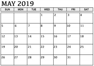 Blank Calendar May 2019 PDF