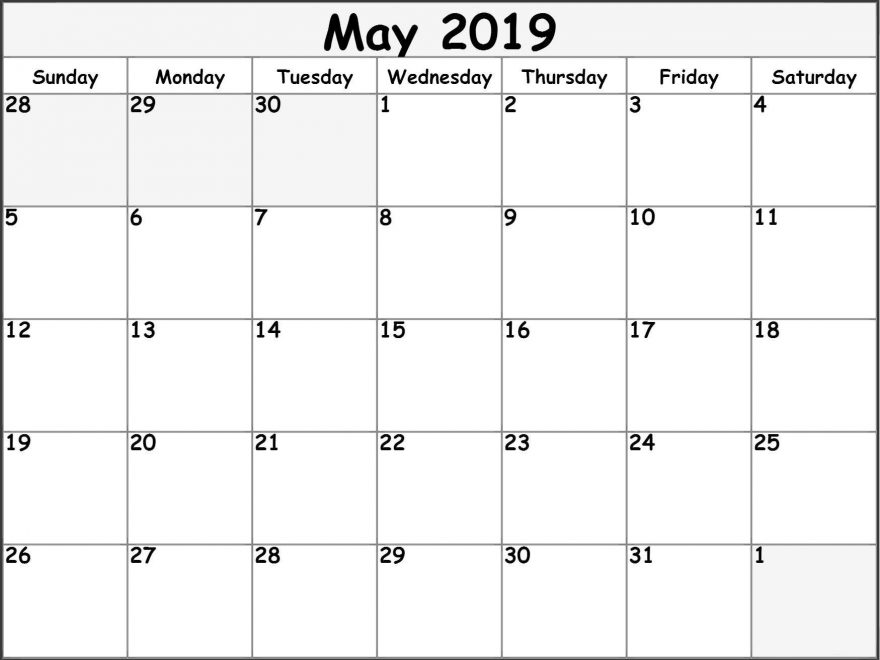 Blank Calendar May 2019 Printable