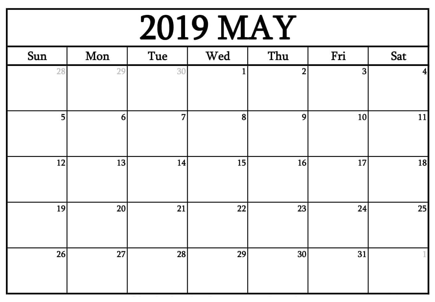 Blank Calendar May 2019 Word