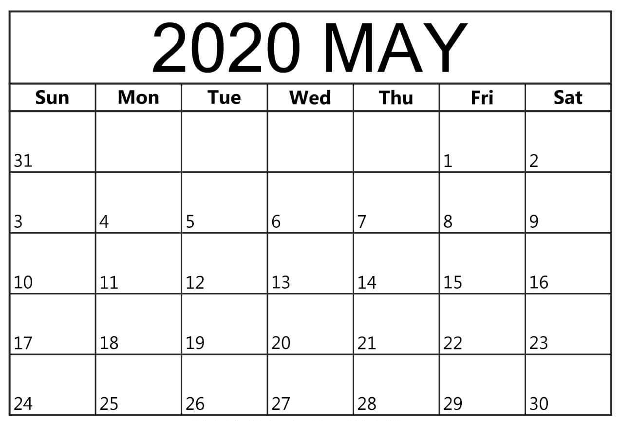 Blank Calendar May 2020 Template