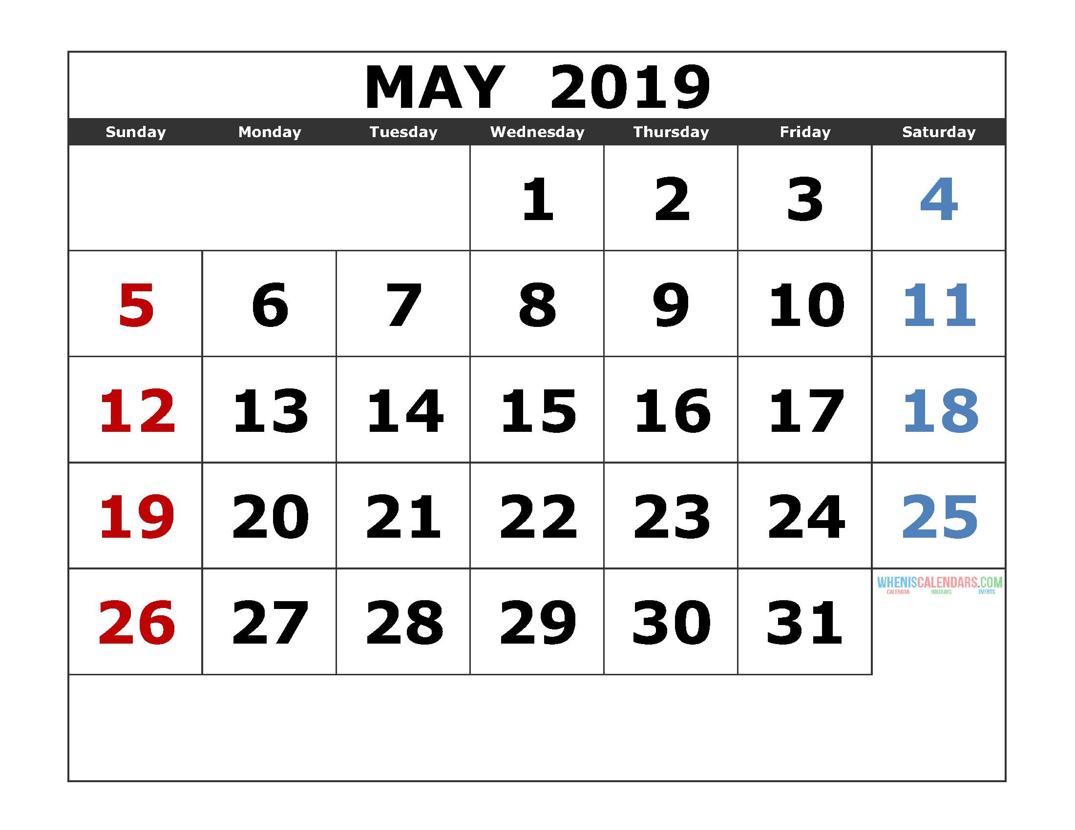 Blank Calendar Template May 2019
