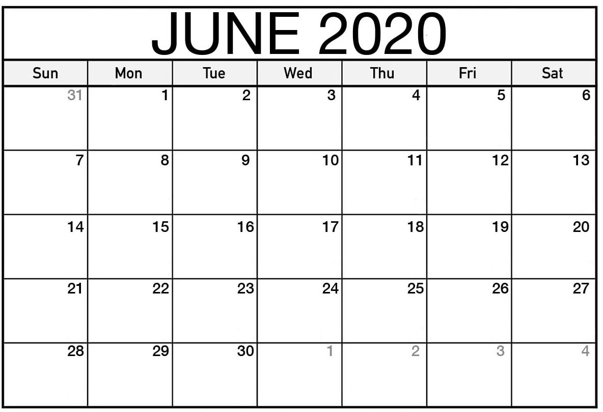 Blank June 2020 Calendar Template