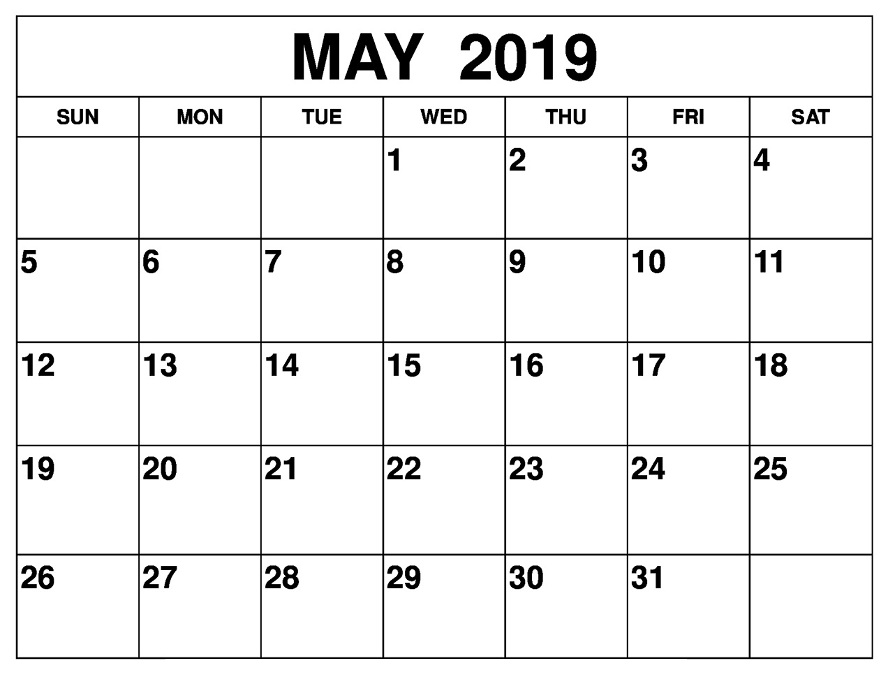 Blank May 2019 Calendar Editable Template