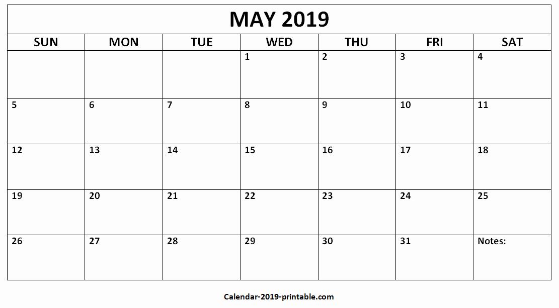 Blank May 2019 Calendar Template