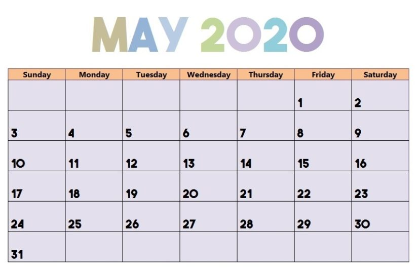 Colorful May 2020 Calendar Template