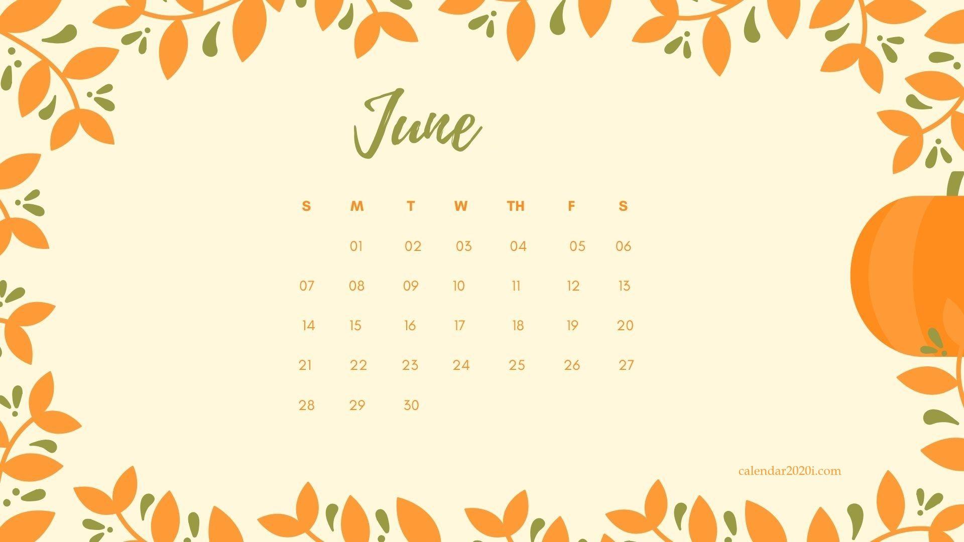 Cute June 2020 Calendar for Desktop